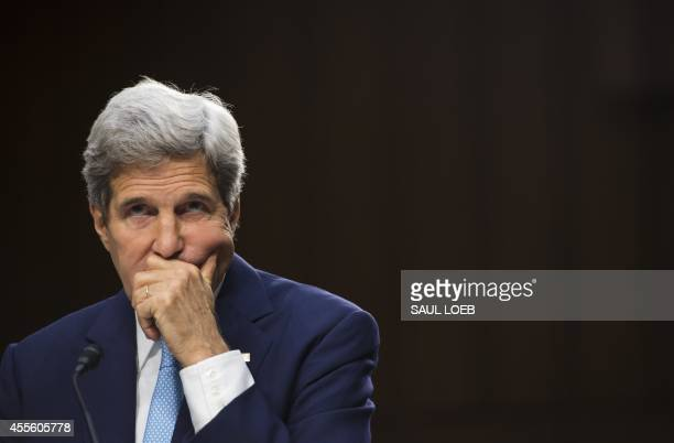 US Secretary of State John Kerry testifies about US policy towards Iraq and Syria and the threat posed by the Islamic State groups during a Senate...