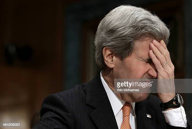 Secretary of State John Kerry testifies before the Senate State, Foreign Operations and Related Programs Subcommittee February 24, 2015 on Capitol...