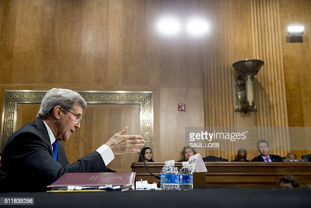 US Secretary of State John Kerry testifies during a Senate Foreign Relations Committee hearing about the budget on Capitol Hill in Washington DC...