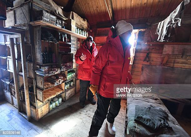 Secretary of State John Kerry visits the historic Shackleton hut with Scott Borg , the head of the Polar Program for the National Science Foundation,...