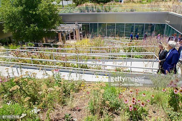 US Secretary of State John Kerry walking a path toward the rooftop garden at Facebook headquarters Menlo Park California June 23 2016 Image courtesy...
