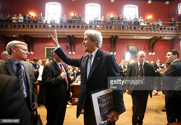 S Secretary of State John Kerry waves to the audience after speaking at the Oxford Union May 11 2016 in Oxford England According to reports Kerry...