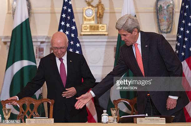 US Secretary of State John Kerry welcomes Pakistani Foreign Minister Sartaj Aziz during their annual partnership dialogue February 29 2016 at the...