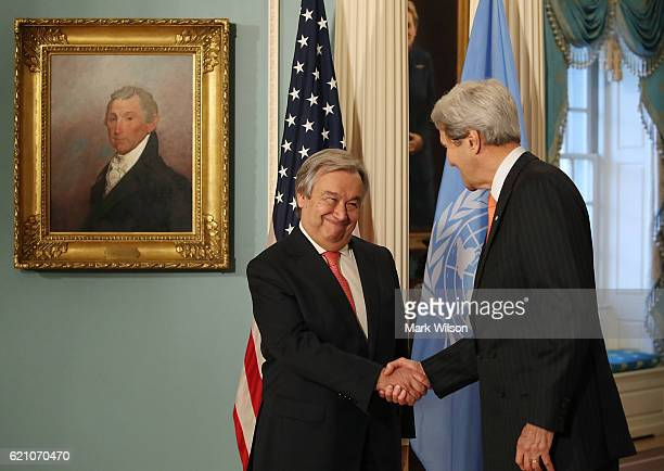 Secretary of State John Kerry welcomes United Nations Secretary Generaldesignate Antonio Guterres before a meeting at the Department of State on...