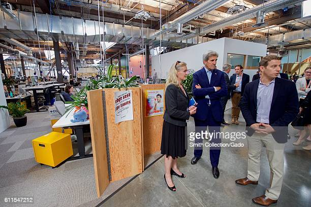 US Secretary of State John Kerry with Brenda Tierney and Brian Rice at Facebook headquarters Menlo Park California June 23 2016 Image courtesy US...