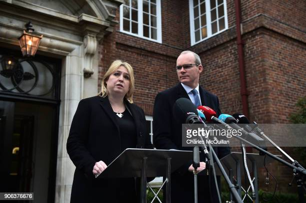 Secretary of State Karen Bradley holds a press conference alongside Simon Coveney Irish Foreign Affairs Minister outside Stormont House at Stormont...