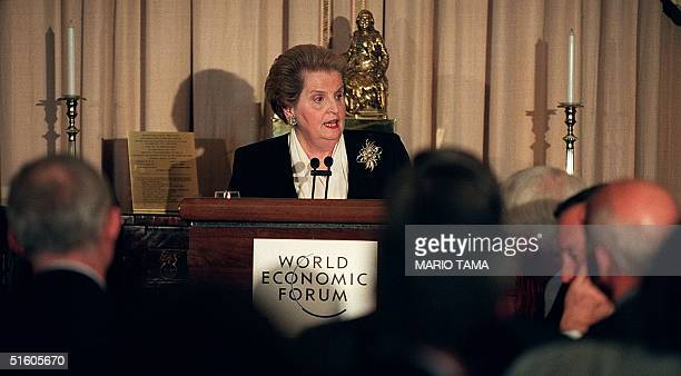 Secretary of State Madeleine Albright addresses the meeting of the World Economic Forum on 'Operating in the New Global Marketplace' at the US State...