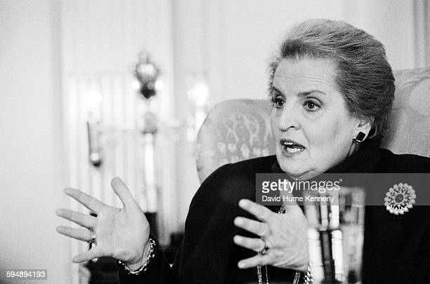 Secretary of State Madeleine Albright being interviewed by John F Kennedy Jr for George Magazine The interview was published in the magazine's...