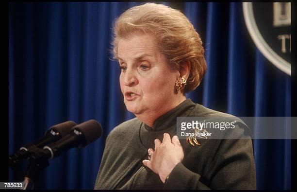 Secretary of State Madeleine Albright holds a briefing on Israel January 23, 1998 in Washington, DC. Albright discussed the progress of President...