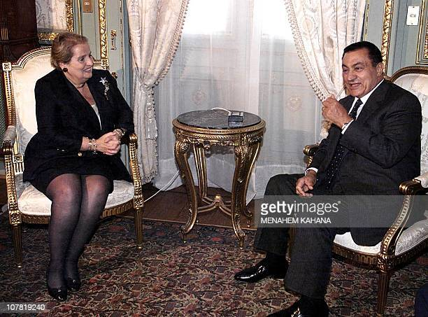 Secretary of State Madeleine Albright meets with Egyptian President Hosni Mubarak at his Ras el-Tin palace in the Mediterranean port of Alexandria 02...