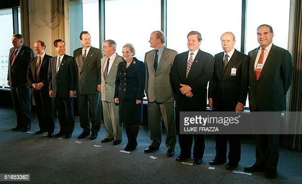 Secretary of State Madeleine Albright poses with a group of foreign ministers attending the Denver Summit of the Eight in Denever CO 21 June From LR...