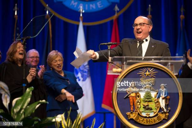 Secretary of State Matthew Dunlap give a dramatic performance of the proclamation of Janet Mills governorship after she is sworn in as the 75th...
