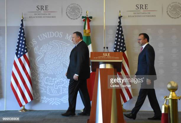S Secretary of State Michael Pompeo and Mexico's Minister of Foreign Affairs Luis Videgaray arrives at press conference at Secretariat of Foreign...