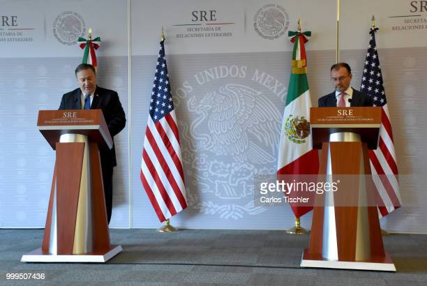 S Secretary of State Michael Pompeo and Mexico's Minister of Foreign Affairs Luis Videgaray speaks during press conference at Secretariat of Foreign...