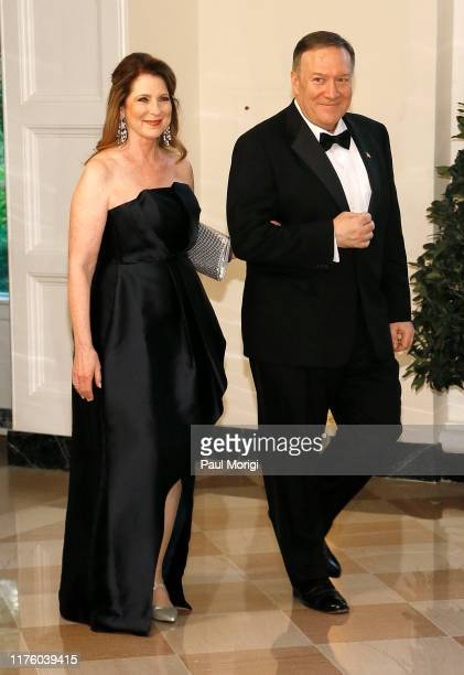 Secretary of State Michael Pompeo and Susan Pompeo arrive for the State Dinner at The White House honoring Australian PM Morrison on September 20...