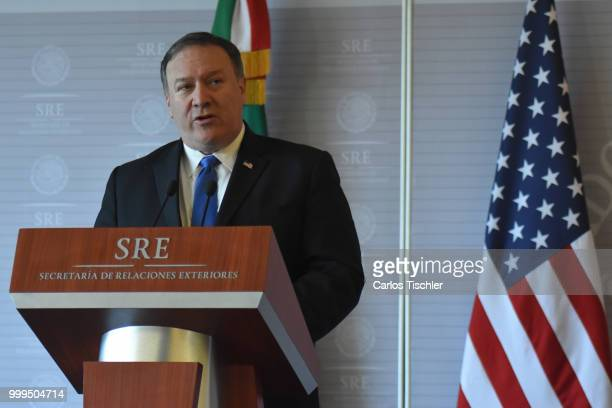 S Secretary of State Michael Pompeo speaks during a press conference at Secretariat of Foreign Affairs on July 13 2018 in Mexico City Mexico US...