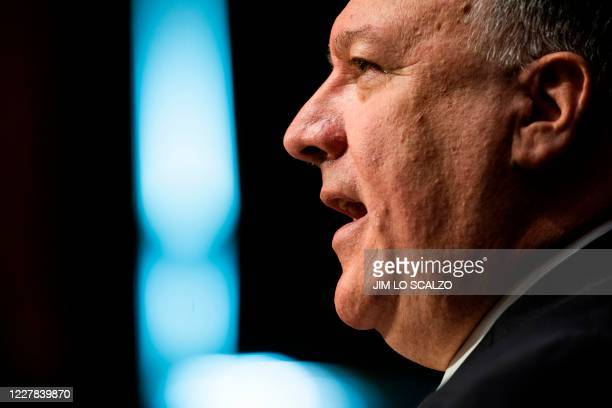 Secretary of State Michael Pompeo testifies before a Senate Foreign Relations committee hearing on the State Departments 2021 budget in the Dirksen...
