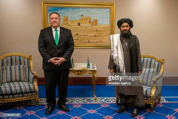 Secretary of State Michael R. Pompeo meets with the Taliban political affairs chief Mullah Abdul Ghani Baradar in Doha, Qatar, on September 12, 2020.