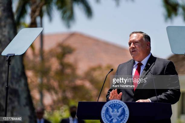 Secretary of State Michael R. Pompeo speaks at the Richard Nixon Presidential Library and Museum on Thursday, July 23, 2020 in Yorba Linda, CA.