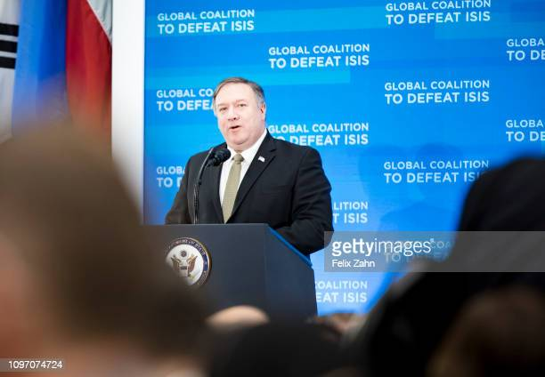 Secretary of State Michael Richard Mike Pompeo makes opening remarks during a plenary session with Foreign Ministers of the Global Coalition to...