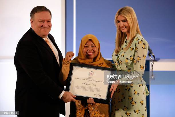 Secretary of State Mike Pomeo and Special Advisor to the President Ivanka Trump present Maizidah Salas of Indonesia with an award for her advocacy...