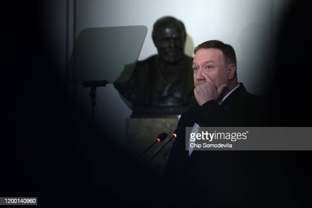 S Secretary of State Mike Pompeo addresses a protocolary meeting of the Permanent Council of the Organization of American States January 17 2020 in...
