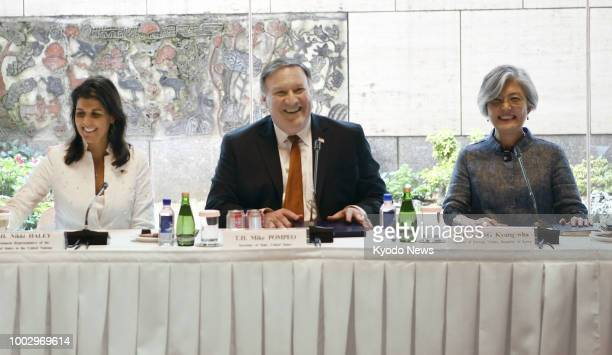 US Secretary of State Mike Pompeo along with South Korean Foreign Minister Kang Kyung Wha and US Ambassador to the United Nations Nikki Haley attend...
