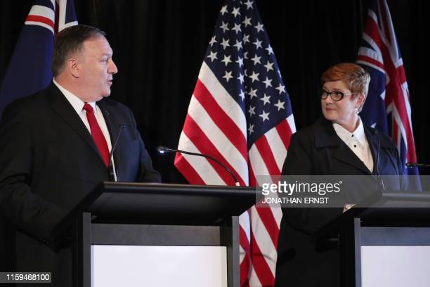 Secretary of State Mike Pompeo and Australia's Foreign Minister Marise Payne hold a joint news conference in Sydney on August 4, 2019.