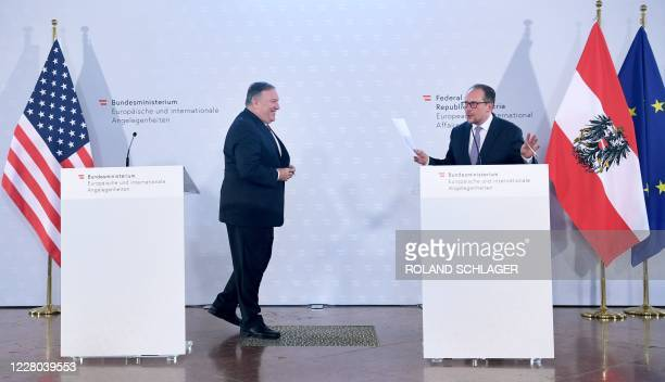 US Secretary of State Mike Pompeo and Austrian Foreign Minister Alexander Schallenberg address a joint press conference during a meeting in Vienna...
