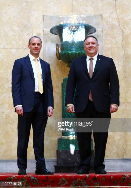 Secretary of State Mike Pompeo and Britain's Foreign Secretary Dominic Raab pose for a photo at Lancaster House on July 21, 2020 in London, England.