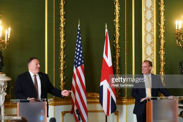 Secretary of State Mike Pompeo and Britain's Foreign Secretary Dominic Raab take part in a joint press conference at Lancaster House on July 21, 2020...