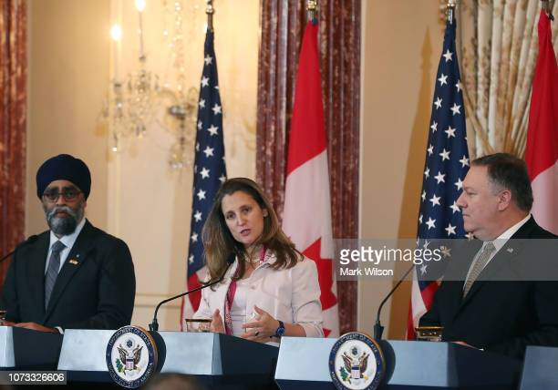 Secretary of State Mike Pompeo and Canadian Minister of Foreign Affairs Chrystia Freeland hold a media availability after the USCanada 22 Ministerial...