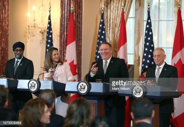 Secretary of State Mike Pompeo and Defense Secretary James Mattis hold a media availability with Canadian Minister of Foreign Affairs Chrystia...