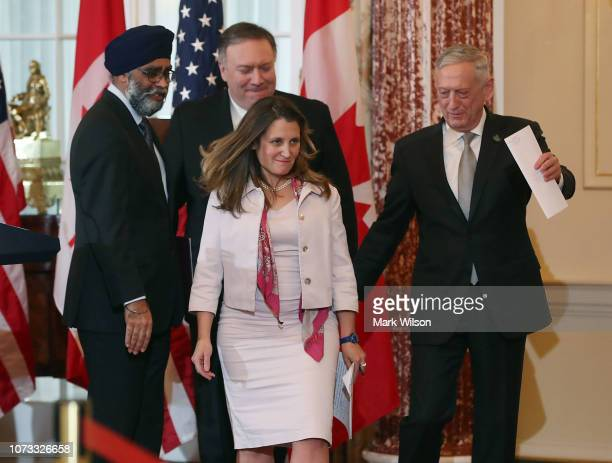 Secretary of State Mike Pompeo and Defense Secretary James Mattis , Canadian Minister of Foreign Affairs Chrystia Freeland and Canadian Minister of...