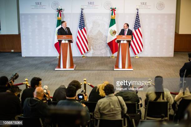 S Secretary of State Mike Pompeo and Foreign Affairs Secretary of Mexico Luis Videgaray deliver a press conference as part of US Secretary of State...