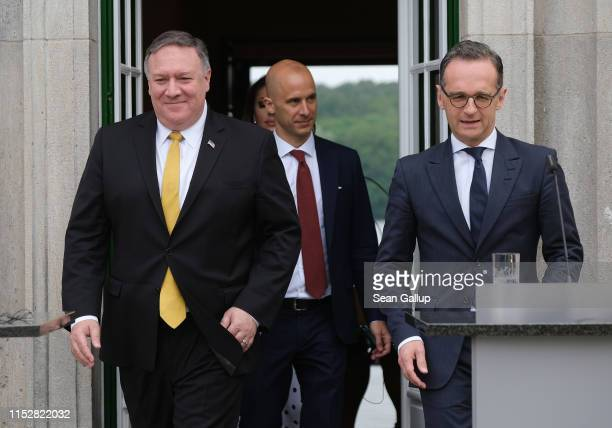 S Secretary of State Mike Pompeo and German Foreign Minister Heiko Maas emerge to speak to the media following talks on May 31 2019 in Berlin Germany...