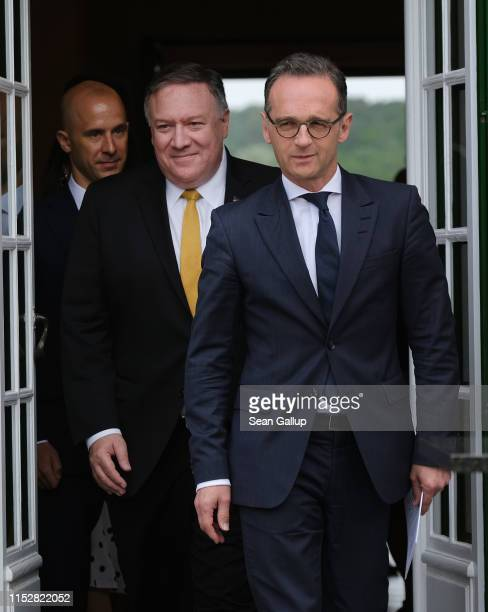 Secretary of State Mike Pompeo and German Foreign Minister Heiko Maas emerge to speak to the media following talks on May 31, 2019 in Berlin,...