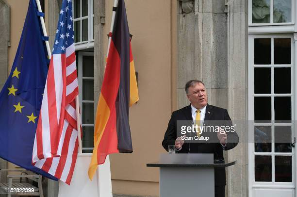 Secretary of State Mike Pompeo and German Foreign Minister Heiko Maas speak to the media following talks on May 31, 2019 in Berlin, Germany. Pompeo...