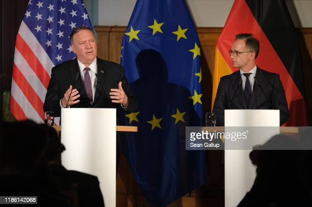 S Secretary of State Mike Pompeo and German Foreign Minister Heiko Maas speak to the media following talks on November 7 2019 in Leipzig Germany...