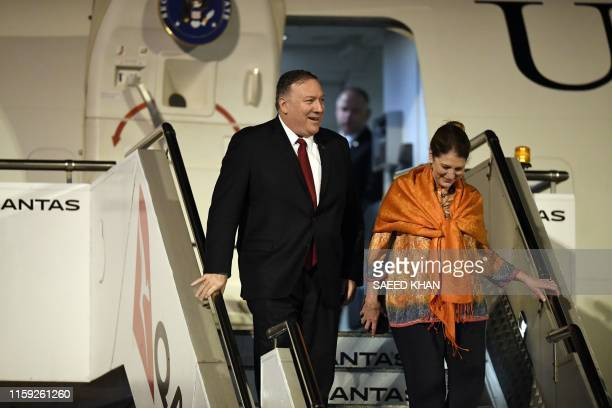 US Secretary of State Mike Pompeo and his wife Susan arrive at Sydney airport on August 3 2019