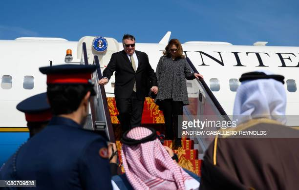 US Secretary of State Mike Pompeo and his wife Susan arrive in Manama International Airport in Manama on January 11 2019