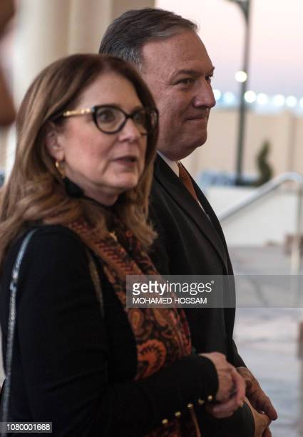 US Secretary of State Mike Pompeo and his wife Susan arrive to visit the newly inaugurated Cathedral of the Nativity Christ in Egypt's New...