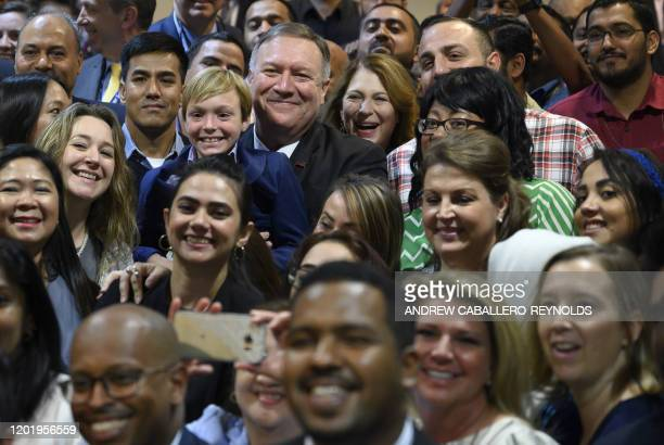 US Secretary of State Mike Pompeo and his wife Susan meet with family members at the US embassy in Riyadh on February 20 2020