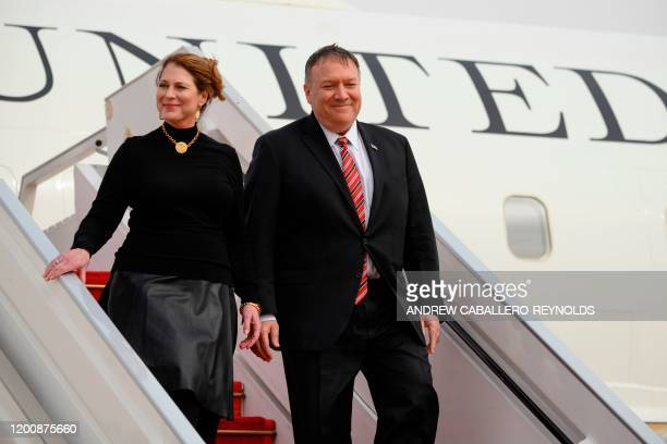 US Secretary of State Mike Pompeo and his wife Susan Pompeo arrive at Blaise Diagne International Airport in Senegal on February 15 2020