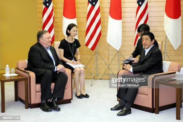 US Secretary of State Mike Pompeo and Japanese Prime Minister Shinzo Abe talk their meeting at the prime minister's official residence on July 8 2018...