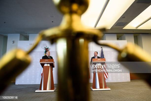 US Secretary of State Mike Pompeo and Mexico's Foreign Minister Luis Videgaray Caso hold a press conference at the Ministry of Foreign Affairs...