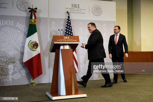 US Secretary of State Mike Pompeo and Mexico's Foreign Minister Luis Videgaray Caso arrive for a press conference at the Ministry of Foreign Affairs...