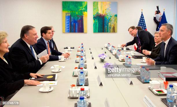 US Secretary of State Mike Pompeo and NATO Secretary General Jens Stoltenberg meet at NATO headquarters in Brussels on April 27 2018 Within hours of...