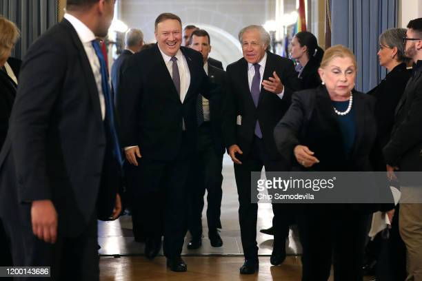 S Secretary of State Mike Pompeo and Organization of American States Secretary General Luis Almagro of Uruguay arrive for a protocolary meeting of...