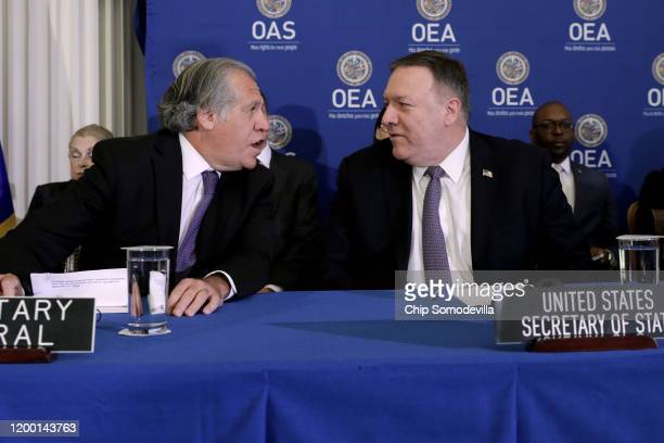 S Secretary of State Mike Pompeo and Organization of American States Secretary General Luis Almagro of Uruguay talk during a protocolary meeting of...